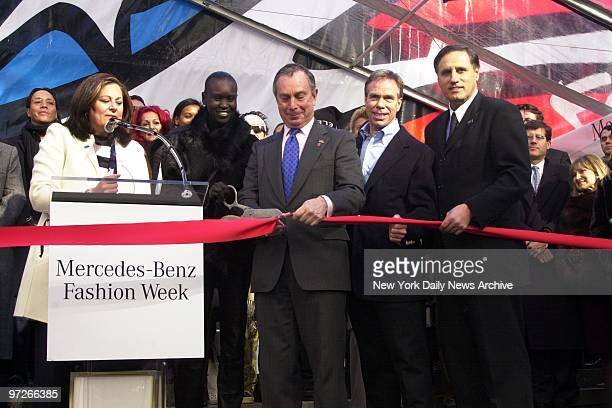 Fern Mallis of Fashion Week supermodel Alek Wek Mayor Michael Bloomberg designer Tommy Hilfiger and MercedesBenz' Vice President of Marketing Dave...