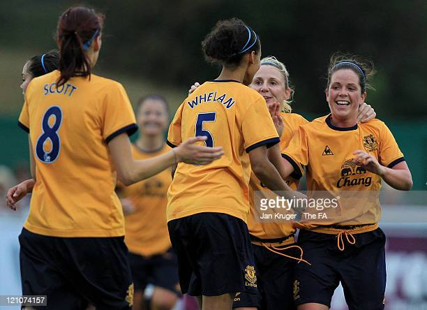 Fern Whelan of Everton celebrates her goal with team mates during the FA Women's Super League match between Bristol Academy Women's FC and Everton...