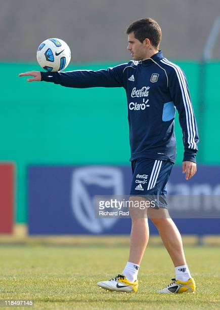 Fernado Gago plays with the ball during a training session at the Asociacion Argentina de Futbol facilities on July 08 2011 in Buenos Aires Argentina...