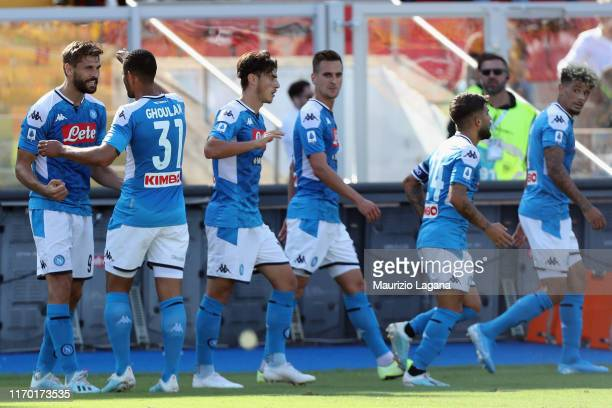 Fernado Llorente of Napoli celebrates after scoring the oprning goal during the Serie A match between US Lecce and SSC Napoli at Stadio Via del Mare...