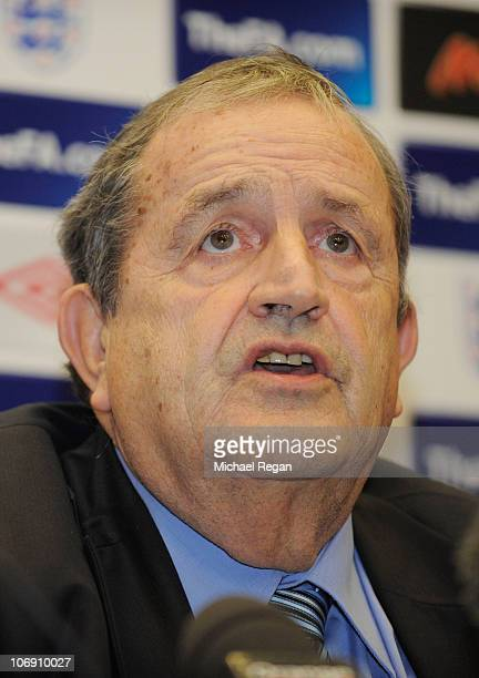 Fernand Duchaussoy interim president of the French Football Federation speaks to the media ahead of the France training session at Wembley Stadium on...