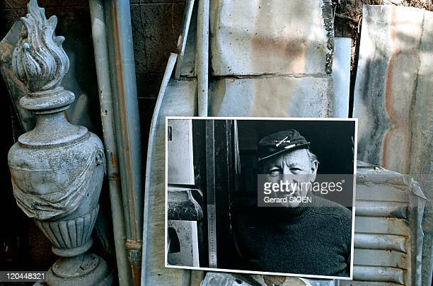 Fernand Michel in Montpellier, France - Portrait of Fernand Michel, on display in his odd studio.museum in Montpellier . A zinc worker artist, the...