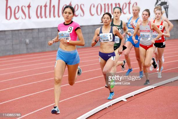 Fernanda Aguilar Villalo leads the pack during the women's 1500 meter run on the first day of the 61st Mt SAC Relays at Murdock Stadium at El Camino...