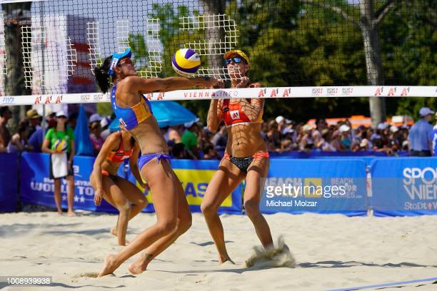 Fernanda Alves of Brazil competes during the pool match between Amaranta Fernandez Navarro and Angela Lobato Herrero of Spain and Barbara Seixas De...
