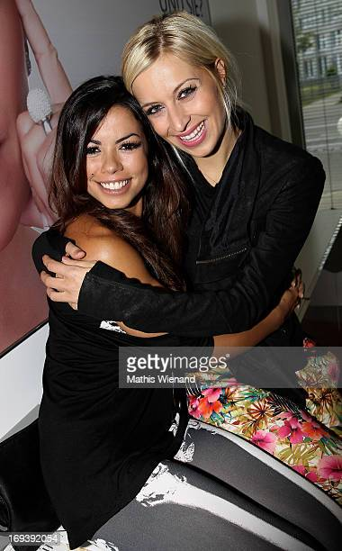Fernanda Brandao and Verena Kerth attend the LUXUSLASHES Lounge Opening on May 23 2013 in Dusseldorf Germany