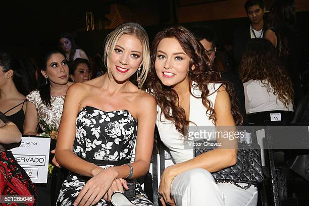 Fernanda Castillo and Angelique Boyer attend the third day of MercedesBenz Fashion Week Mexico Autumn/Winter 2016 at Auditorio BlackBerry on April 13...