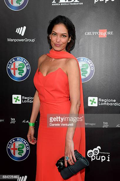 Fernanda Lessa walks the red carpet of Bocelli and Zanetti Night on May 25 2016 in Rho Italy