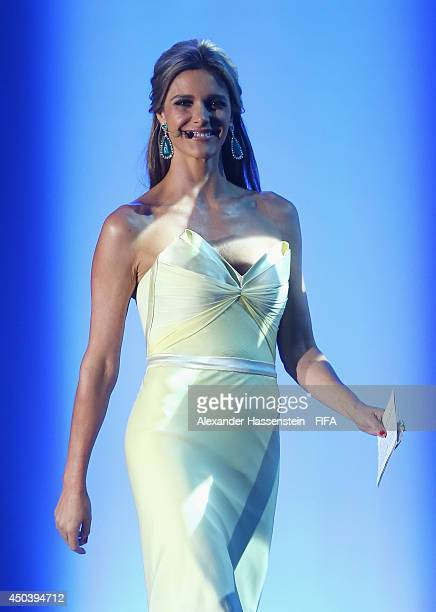 Fernanda Lima on stage during the Opening Ceremony of the 64th FIFA Congress at the Transamerica Expo Center on June 10 2014 in Sao Paulo Brazil