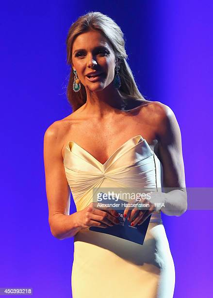 Fernanda Lima speaks during the Opening Ceremony of the 64th FIFA Congress at the Transamerica Expo Center on June 10 2014 in Sao Paulo Brazil