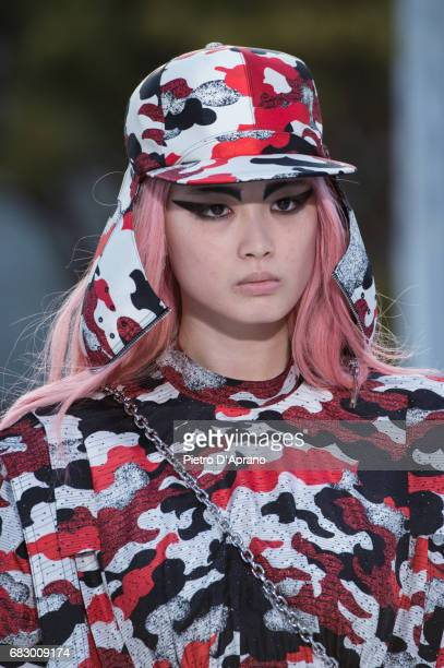 Fernanda Ly hat detail showcases the design on runway during the Louis Vuitton Resort 2018 show at the Miho Museum on May 14 2017 in Koka Japan