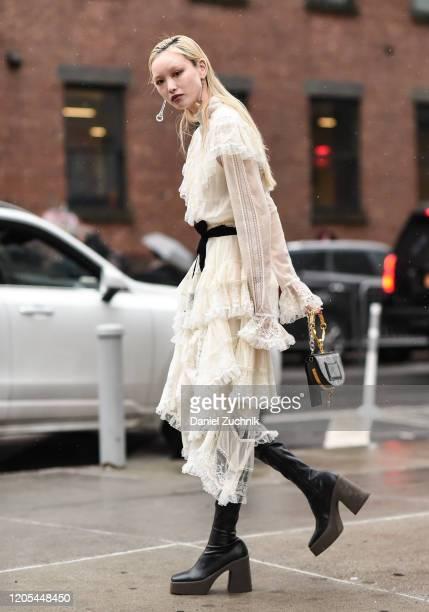 Fernanda Ly is seen wearing a white Zimmermann dress outside the Zimmermann show during New York Fashion Week: A/W20 on February 10, 2020 in New York...