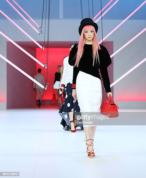 Fernanda Ly showcases designs by Georgia Alice during the Myer Spring 16 Launch at Hordern Pavilion on August 23 2016 in Sydney Australia