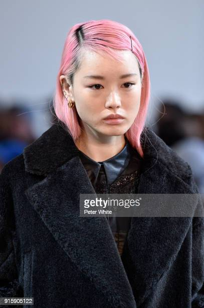 Fernanda Ly walks the runway for Noon By Noor during New York Fashion Week The Shows at Gallery II at Spring Studios on February 8 2018 in New York...