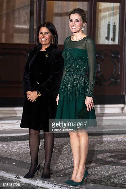 Fernanda Maria Goncalves Tadeu receives Queen Letizia of Spain for a Gala dinner at Palacio de las Necesidades during her official visit to Portugal...