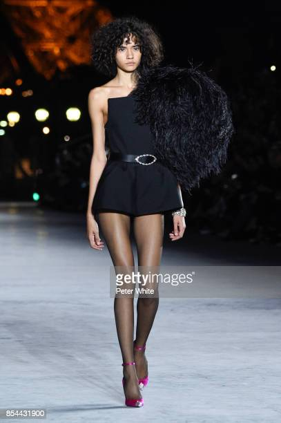 Fernanda Oliveira walks the runway during the Saint Laurent show as part of the Paris Fashion Week Womenswear Spring/Summer 2018 on September 26 2017...