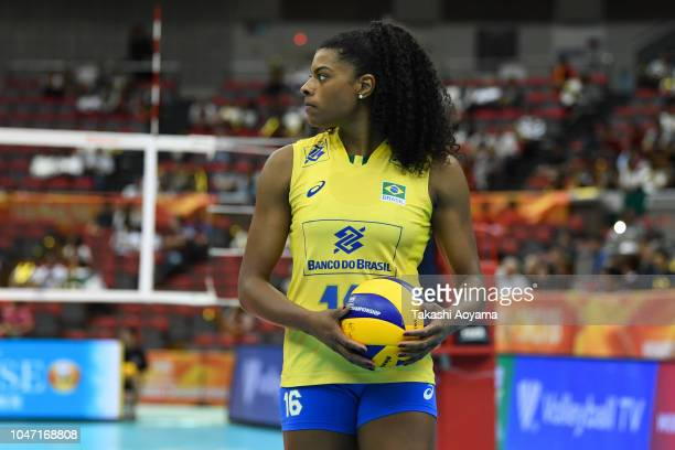 Fernanda Rodrigues of Brazil looks on during the Pool E match between Germany and Brazil on day one of the FIVB Women's World Championship second...