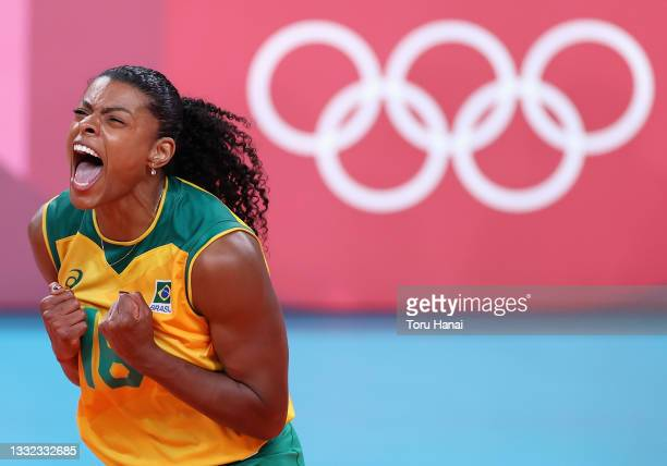 Fernanda Rodrigues of Team Brazil reacts against Team ROC during the Women's Quarterfinals volleyball on day twelve of the Tokyo 2020 Olympic Games...