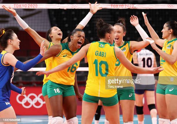 Fernanda Rodrigues of Team Brazil reacts with team mates after defeating Team South Korea during the Women's Semifinals on day fourteen of the Tokyo...