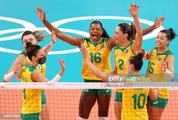 Fernanda Rodrigues of Team Brazil reacts with team mates as they compete against Team South Korea during the Women's Semifinals on day fourteen of...