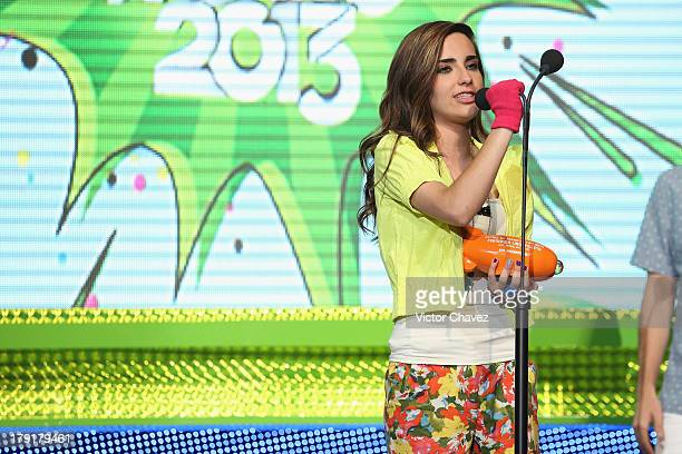 Fernanda Urdapilleta speaks on stage during the Kids Choice Awards Mexico 2013 at Pepsi Center WTC on August 31 2013 in Mexico City Mexico
