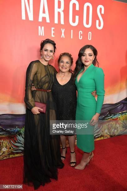 Fernanda Urrejola Mika Camarena and Teresa Ruiz attend the Netflix Original Series Narcos Mexico special screening at LA Live in Los Angeles CA on...