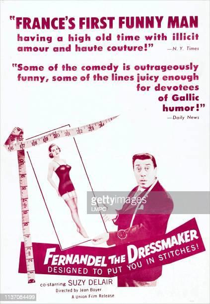 Fernandel The Dressmaker, poster, , US poster, from left: Suzy Delair, Fernandel, 1956.
