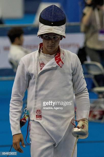 Fernandez Charles of Guatemala is seen during the men's fencing final at the World Championship in modern pentathlon at Olympic Sports Complex in...