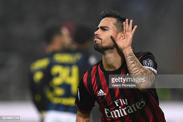 Fernandez Suso of AC Milan celebrates his second goal during the Serie A match between AC Milan and FC Internazionale at Stadio Giuseppe Meazza on...