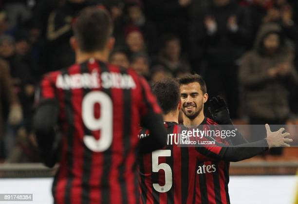 Fernandez Suso of AC Milan celebrates with his teammate Giacomo Bonaventura after scoring the opening goal during the Tim Cup match between AC Milan...