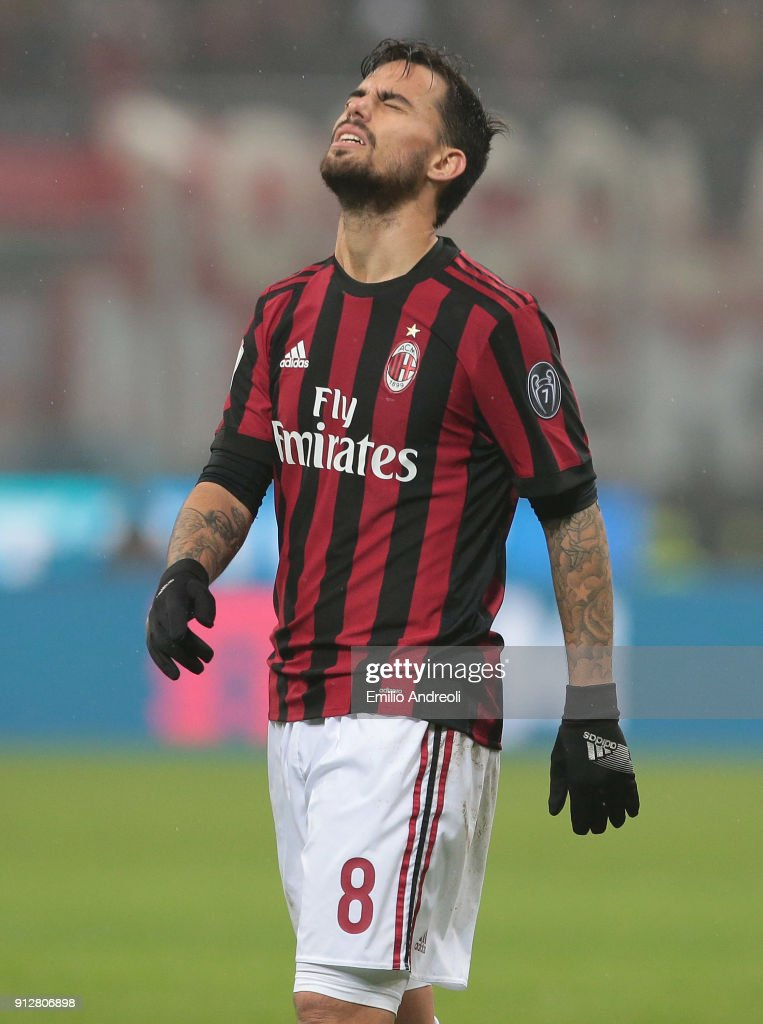 Fernandez Suso of AC Milan reacts during the TIM Cup match between AC Milan and SS Lazio at Stadio Giuseppe Meazza on January 31, 2018 in Milan, Italy.