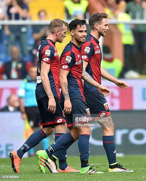 Fernandez Suso of Genoa celebrates after scoring a goal during the Serie A match between Genoa CFC and Frosinone Calcio at Stadio Luigi Ferraris on...