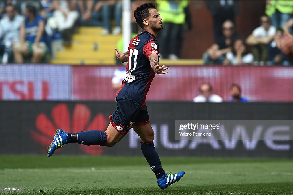 Fernandez Suso of Genoa CFC celebrates his goal during the Serie A match between UC Sampdoria and Genoa CFC at Stadio Luigi Ferraris on May 8, 2016 in Genoa, Italy.