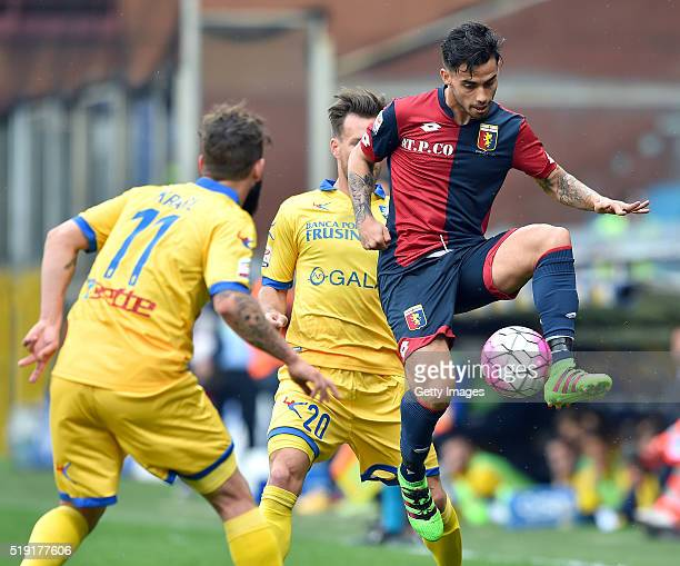 Fernandez Suso of Genoa CFC in action during the Serie A match between Genoa CFC and Frosinone Calcio at Stadio Luigi Ferraris on April 3 2016 in...