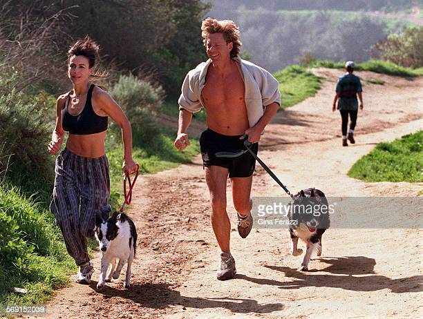 LSFernandez20202GF8Giselle Fernandez host of NBC's Access Hollywood jogs with her friend Don Dahler and two dogs Skye and Nellie Bly along the trails...