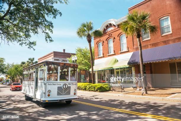 Fernandina Beach Trolley Tour Drives Main Street Amelia Island Florida