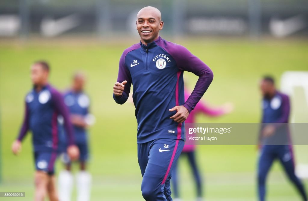 Fernandinho during Manchester City training at Etihad Campus on August 11, 2017 in Manchester, England.