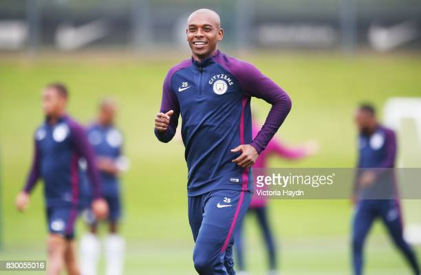 Fernandinho during Manchester City training at Etihad Campus on August 11 2017 in Manchester England