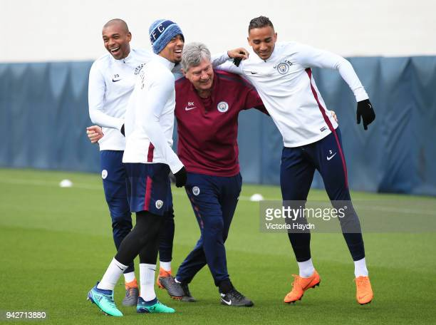 Fernandinho Gabriel Jesus Brian Kidd and Danilo reacts during training at Manchester City Football Academy on April 6 2018 in Manchester England