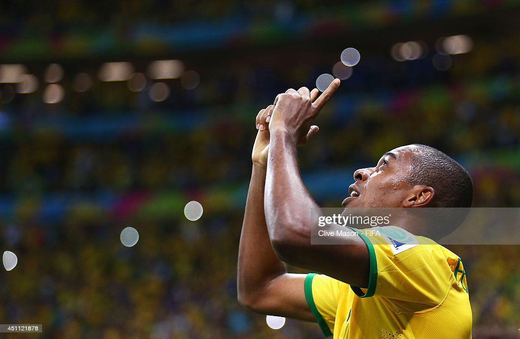 Fernandinho of Brazil celebrates scoring his team's fourth goal during the 2014 FIFA World Cup Brazil Group A match between Cameroon and Brazil at Estadio Nacional on June 23, 2014 in Brasilia, Brazil.