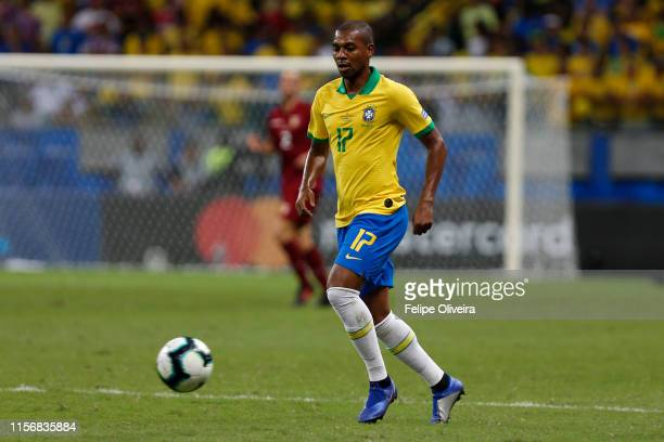 Fernandinho of Brazil controls the ball during the Copa America Brazil 2019 group A match between Brazil and Venezuela at Arena Fonte Nova on June...