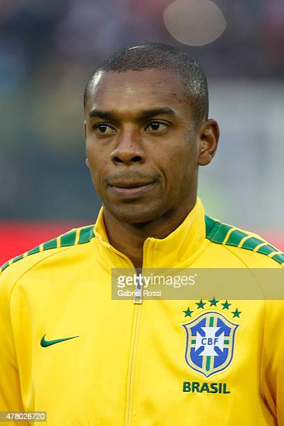 Fernandinho of Brazil looks on during the national anthem ceremony prior the 2015 Copa America Chile Group C match between Brazil and Venezuela at...