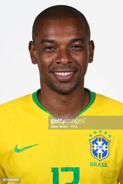Fernandinho of Brazil poses for a portrait during the official FIFA World Cup 2018 portrait session at the Brazil Team Camp on June 12 2018 in Sochi...
