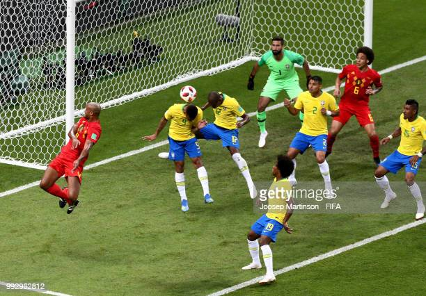 Fernandinho of Brazil scores an own goal for Belgium's first goal during the 2018 FIFA World Cup Russia Quarter Final match between Brazil and...