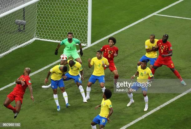 Fernandinho of Brazil scores an own goal for Belgium's first goal during the 2018 FIFA World Cup Russia Quarter Final match between Brazil and...