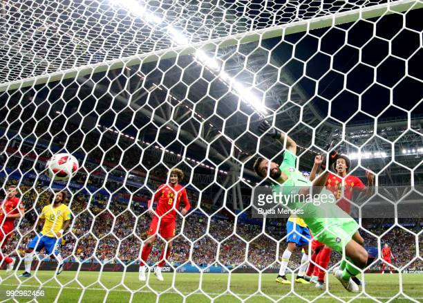 Fernandinho of Brazil scores an own goal for Belgium's past Alisson of Brazil first goal during the 2018 FIFA World Cup Russia Quarter Final match...