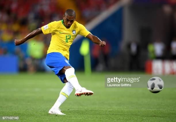 Fernandinho of Brazil shoots during the 2018 FIFA World Cup Russia group E match between Brazil and Switzerland at Rostov Arena on June 17 2018 in...