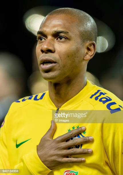 Fernandinho of Brazil sings the national anthem prior to the international friendly match between Germany and Brazil at Olympiastadion on March 27...