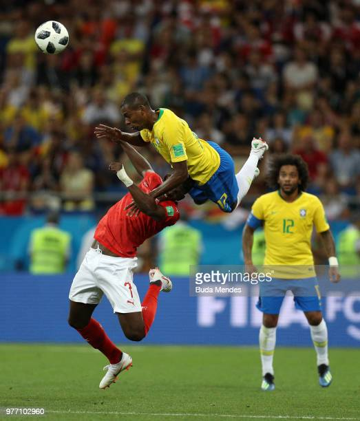 Fernandinho of Brazil wins a header over Breel Embolo of Switzerland during the 2018 FIFA World Cup Russia group E match between Brazil and...