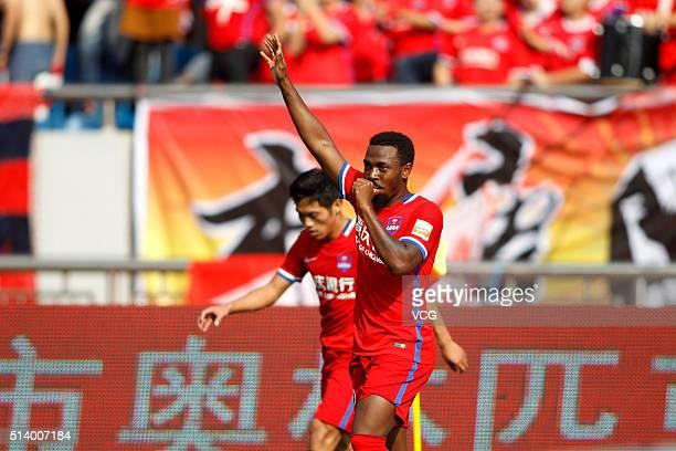 Fernandinho of Chongqing Lifan celebrates during the first round match of CSL Chinese Football Association Super League between Chongqing Lifan and...