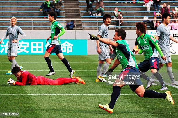Fernandinho of Gainare Tottori celebrates scoring his team's first goal during the JLeague third division match between Gainare Tottori and Akita...